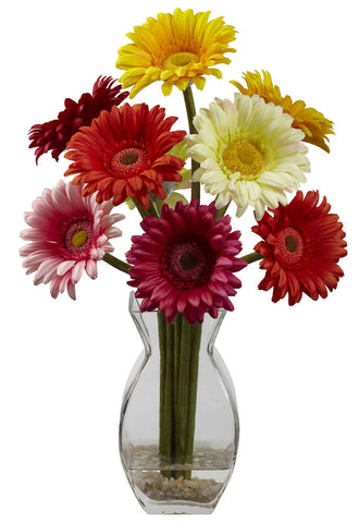 1297-AS Gerber Daisy Silk Flowers in Faux Water by Nearly Natural | 15 inches