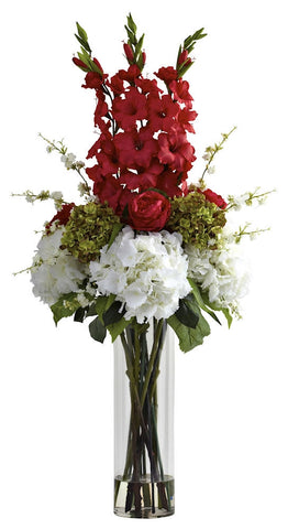 1337-RD Red Giant Mixed Floral in Water in 2 colors by Nearly Natural | 4 feet