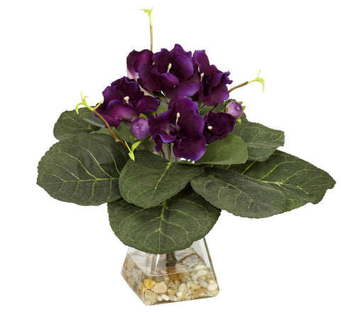 6689 Gloxinia Silk Flowers in Water with Vase by Nearly Natural | 12 inches