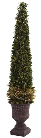 5368 Golden Boxwood & Holly Christmas Tree by Nearly Natural | 39 inches