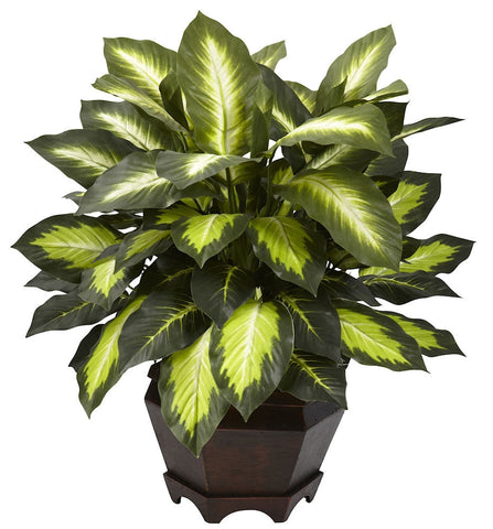 6720 Golden Dieffenbachia Silk Plant by Nearly Natural | 22 inches
