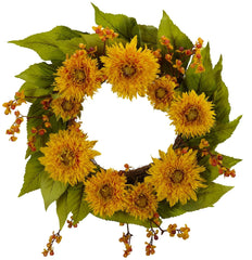 4904 Golden Sunflower Artificial Silk Wreath by Nearly Natural | 22 inches