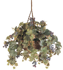 6026 Grape Leaf Silk Plant in Hanging Basket by Nearly Natural | 23 inches