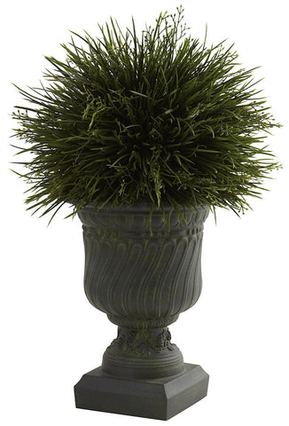 6744 Grass Indoor Outdoor Silk Plant with Urn by Nearly Natural | 17 inches