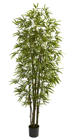 5421 Green Bamboo Artificial Tree with Planter by Nearly Natural | 7 feet