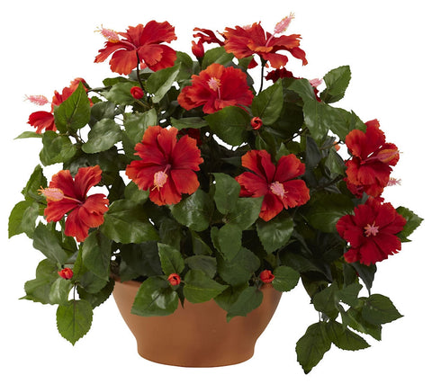 6735 Hibiscus Silk Plant with Clay Planter by Nearly Natural | 20 inches