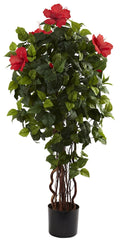 5410 Hibiscus Artificial Silk Tree with Planter by Nearly Natural | 4 feet