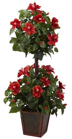 6726 Hibiscus Silk Double Ball Topiary Plant by Nearly Natural | 39 inches