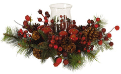 4654 Holiday Artificial Silk Candelabrum by Nearly Natural | 17.5 inches