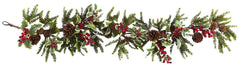 4942 Holly Berry Artificial Holiday Garland by Nearly Natural | 4.5 feet