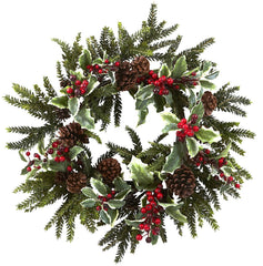 4941 Holly Berry Artificial Holiday Wreath by Nearly Natural | 22 inches