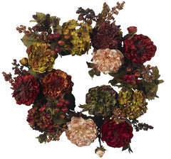 4911 Hydrangea & Peony Silk Autumn Wreath by Nearly Natural | 22 inches