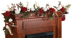 4900 Hydrangea & Rose Silk Holiday Garland by Nearly Natural | 6 feet