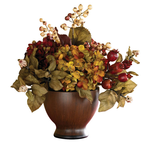 4680 Hydrangea Silk Autumn Arrangement by Nearly Natural | 12 inches