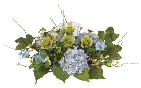4632-BL Blue Hydrangea Artificial Candelabrum by Nearly Natural | 18 inches