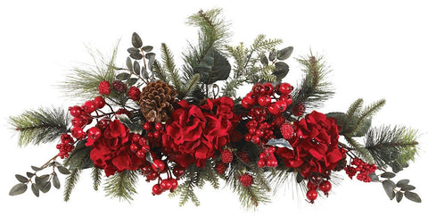 4679 Hydrangea Artificial Silk Holiday Swag by Nearly Natural | 30 inches