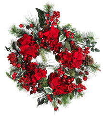 4661 Hydrangea Artificial Silk Holiday Wreath by Nearly Natural | 22 inches