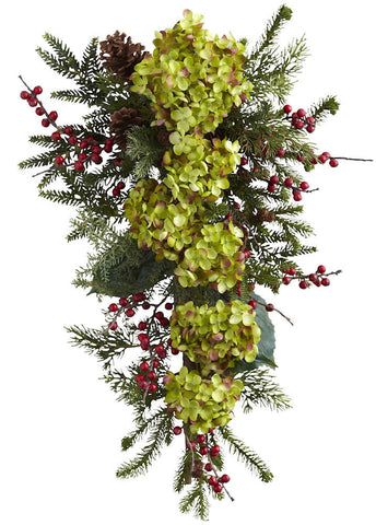 4940 Hydrangea Pine & Berry Silk Holiday Teardrop by Nearly Natural | 26""