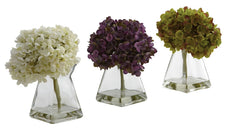 1313-S3 Hydrangea Set of 3 Silk Flowers in Water by Nearly Natural | 8 inches