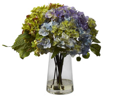 4935 Hydrangea Silk Flowers in Water w/Vase by Nearly Natural | 11 inches