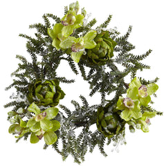 4948 Iced Cymbidium & Artichoke Holiday Wreath by Nearly Natural | 22""