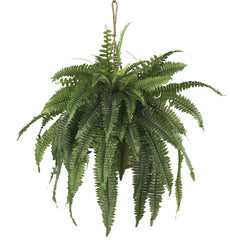 6774 Large Boston Fern Silk Hanging Basket by Nearly Natural | 32 inches