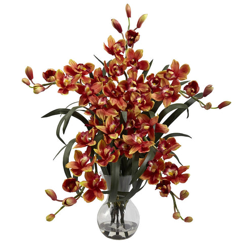 1300-BG Burgundy Large Silk Cymbidium in Water in 2 colors by Nearly Natural | 34""