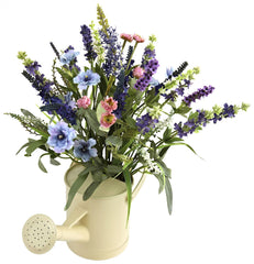 4816 Lavender Watering Can Silk Arrangement by Nearly Natural | 17 inches