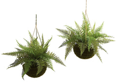 6743-S2 Silk Leather Fern Set/2 Indoor Outdoor by Nearly Natural | 18 inches
