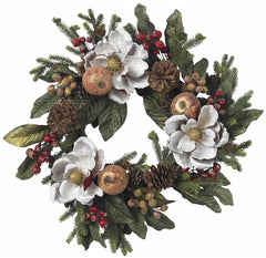 4923 Magnolia Pine Cone & Berry Silk Holiday Wreath by Nearly Natural | 24""