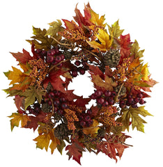 4810 Maple & Berry Artificial Autumn Wreath by Nearly Natural | 24 inches