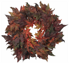 4908 Maple Leaf Artificial Silk Autumn Wreath by Nearly Natural | 30 inches