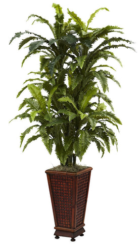 6747 Marginatum Fern Silk Plant with Planter by Nearly Natural | 57 inches