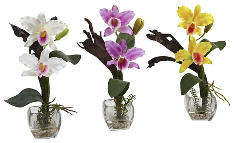 1321-S3 Mini Silk Cattleya Orchid S/3 in Water by Nearly Natural | 14.5 inches