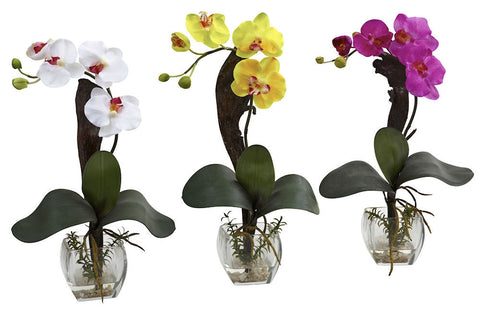 1311-S3 Mini Silk Phalaenopsis Set of 3 in Water by Nearly Natural | 16 inches