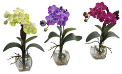 1312-S3 Mini Vanda Silk Orchid Set of 3 in Water by Nearly Natural | 15 inches