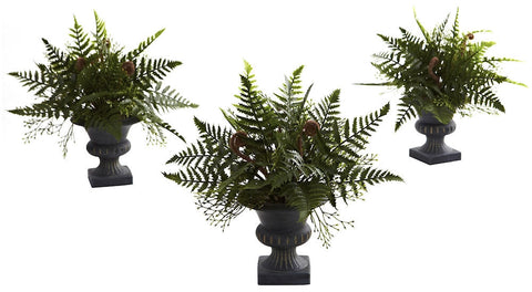 4976-S3 Mixed Fern Set of 3 Silk Plant with Urn by Nearly Natural | 10 inches