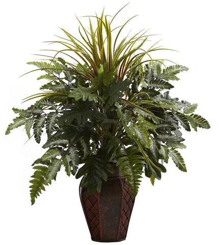 6754 Mixed Grass & Fern Silk Plant w/Planter by Nearly Natural | 29 inches
