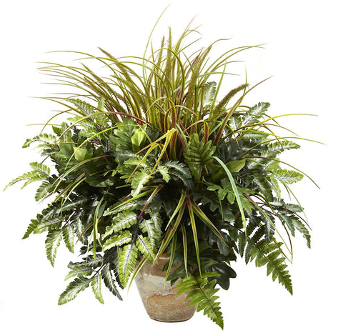 6728 Mixed Grass & Greens Silk Plant by Nearly Natural | 28 inches
