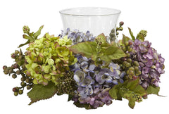 4758 Mixed Hydrangea Artificial Candelabrum by Nearly Natural | 14 inches