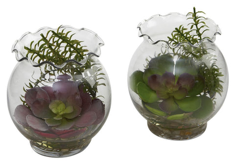 6781-S2 Mixed Silk Succulents Set of 2 Terrariums by Nearly Natural | 6 inches