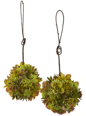 4959-S2 Mixed Silk Succulents Set of 2 Spheres by Nearly Natural | 7 inches
