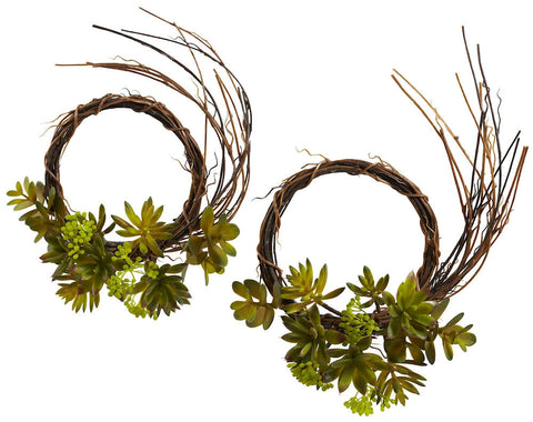 4957-S2 Mixed Succulents Set of 2 Silk Wreaths by Nearly Natural | 9 inches