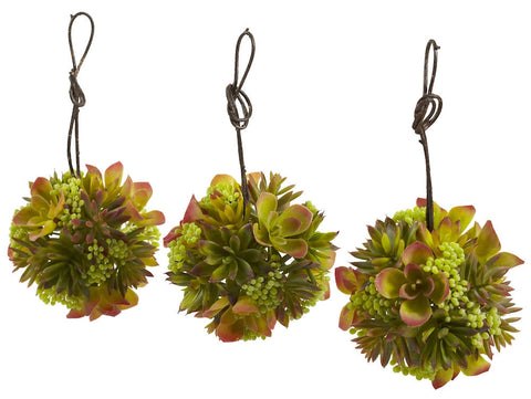 4958-S3 Mixed Silk Succulents Set of 3 Spheres by Nearly Natural | 5 inches