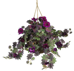 6610 Morning Glory Silk Hanging Basket by Nearly Natural | 32 inches