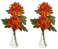 1261-S2 Mum Set of 2 Silk Flowers in Water by Nearly Natural | 12.5 inches