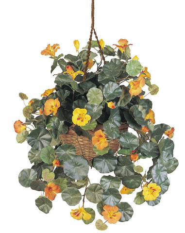 6025 Nasturtium Silk Hanging Plant w/Basket by Nearly Natural | 29 inches