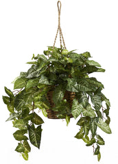 6738 Nephthytis Silk Hanging Plant w/Basket by Nearly Natural | 24 inches