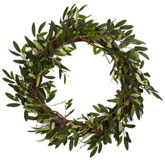 4773 Olive Branch Artificial Silk Wreath by Nearly Natural | 20 inches