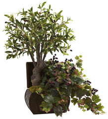 6771 Olive Tree & Grape Leaf Silk Arrangement by Nearly Natural | 32 inches